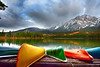 Canoes and Pyramid Mountain in Jasper