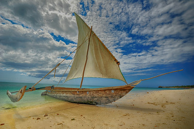 Boat in Zanzibar on beachHDR