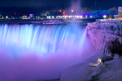 Niagara Falls in Ice and Blue at night