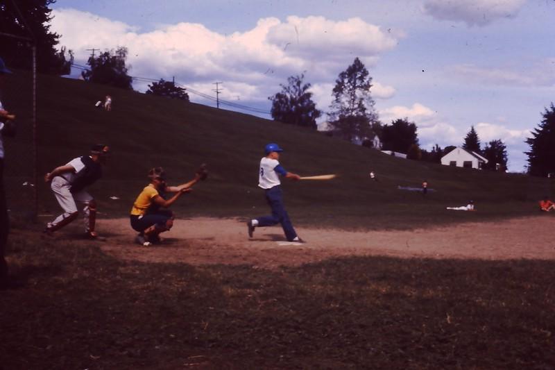 Dave Yaden, Jr. - 1961 - Age 13 - At bat for the Odd Fellows Lodge baseball team - Franklin Junior High School field - Yakima, WA - From the Bernard Shaw 35 MM Slide Collection