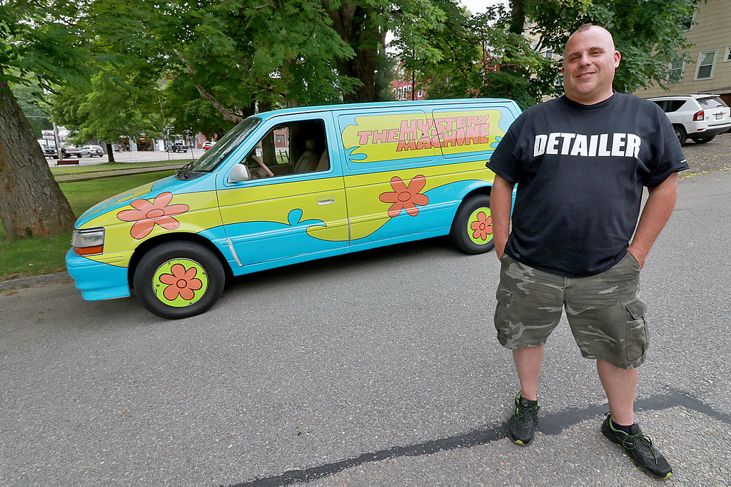 . Dave LaPlante owner of Big D\'s Auto Detailing in Fitchburg likes cars but also has a love for vintage toy\'s. At his shop in Fitchburg in a back room is where he keep many of the toys he has collected.  He created this car to look like The Mystery Machine from Scobby-Doo. he said you will be able to see it in this year fourth of July Parade. SENTINEL & ENTERPRISE/JOHN LOVE