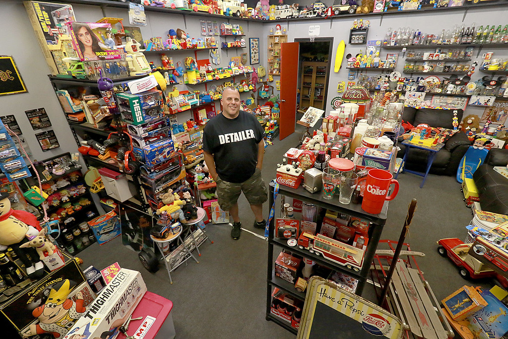 . Dave LaPlante owner of Big D\'s Auto Detailing in Fitchburg likes cars but also has a love for vintage toy\'s. At his shop in Fitchburg in a back room is where he keep many of the toys he has collected.  SENTINEL & ENTERPRISE/JOHN LOVE