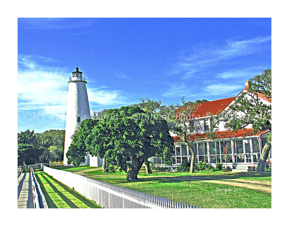 "Ocracoke! Have you been?<br /> For all our many trips to Hatteras in OBX we had never taken the ferry to Ocracoke Island. On a beautiful spring day in April we did just that. We had lunch at Dajios out on the patio. Then we walked around the entire town taking pictures. What a treat..........<br /> <br /> Title: ""Ocracoke Lighthouse""  <br /> Place: OBX - Ocracoke Island, NC<br /> Click ""Buy"" To order Prints online<br /> <br /> Watermark will not print on your order<br /> <br /> All photos available matted and framed:<br /> 5x7 -     $39<br /> 8x10 -   $49<br /> 11x14 - $69<br /> 16x20 - $149<br /> <br /> All Photos Available In 5x7 NoteCards $3.95ea    <br /> 5/$2.95ea<br /> <br /> Email Your Framed / NoteCard Order:  ArtGalleryRiverRd@gmail.com"