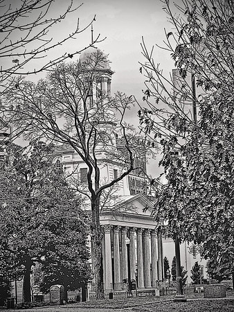 St. Paul's Episcopal Church is an historic Episcopal church in Richmond, Virginia. Located directly across the street from the Virginia State Capitol, it has long been a popular house of worship for political figures, including General Robert E. Lee and Confederate President Jefferson Davis.  St. Paul's was built in 1845 as a branch of the Monumental Church, which had outgrown its building. The Greek Revival church was designed by Thomas Somerville Stewart and modeled largely on St. Luke's Church, now Church of St. Luke & the Epiphany. It was listed on the National Register of Historic Places in 1969 as St. Paul's Church.