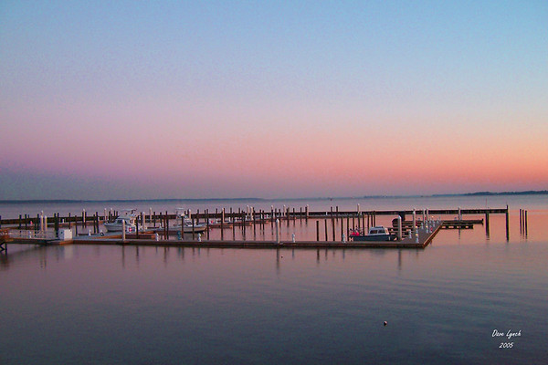 """""""Docked At Sunset"""" James River  Watermark will  not print on your order"""