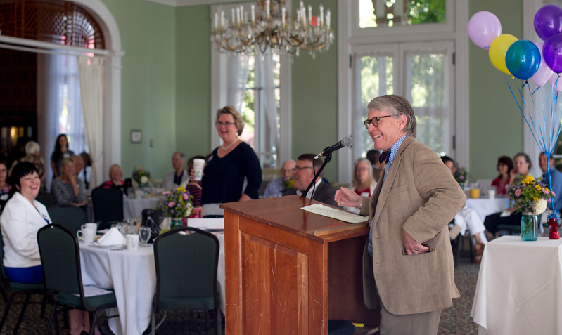 Chautuauqua Foundation CEO Geof Follansbee speaks to volunteers during the Chautauqua Fund Kick-off Celebration in the parlor of the Athenaeum Hotel June 24. DAVE MUNCH/PHOTO EDITOR