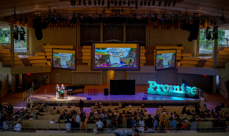 Promise Campaign co-chairs Steve Percy and George Snyder speak on the Amphitheater stage during a celebration of the conclusion of the Promise Campaign June 23, 2017. DAVE MUNCH/PHOTO EDITOR