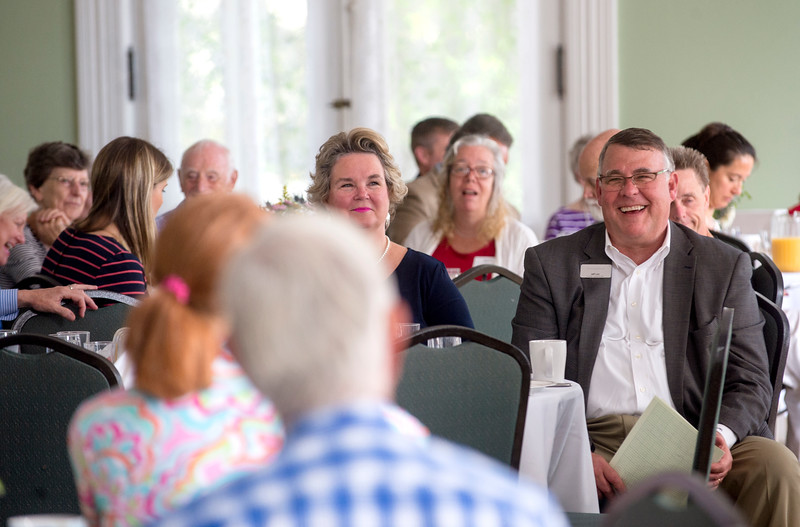 Chautauqua Fund Chair Jeff Lutz reacts during the Chautauqua Fund Kick-off Celebration in the parlor of the Athenaeum Hotel June 24. DAVE MUNCH/PHOTO EDITOR