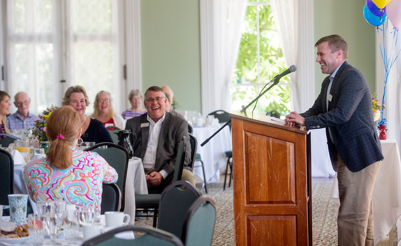 President Michael E. Hill speaks to volunteers during the Chautauqua Fund Kick-off Celebration in the parlor of the Athenaeum Hotel June 24. DAVE MUNCH/PHOTO EDITOR