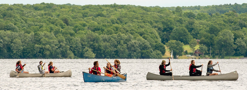 Members of Chautauqua Boys' and Girls' Club paddle canoes on Chautauqua Lake Monday, June 26, 2017. DAVE MUNCH/PHOTO EDITOR