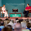 """Kareem Ibrahim, right, is interviewed by Michele Dunne after delivering his lecture """"Cairo: The Arab Megalopolis"""" Wednesday, Aug. 3, 2016 on the Amphitheater stage."""