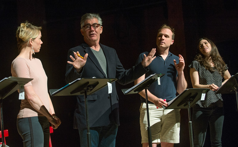 """From left; Kristen Bush, as cara Russo, Kevin O'Rourke, as Kevin O'Neill, Chris Corporandy, as Geoff Hosmer, and Robin Galloway, as Pamela Hosmer, perform during a rehearsal for a pre-season staged reading of """"Dan Cody's Yacht"""" June 9, 2017 at Bratton Theater. Dave Munch 