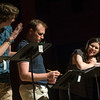"Robin Galloway, right, performs as Pamela Hosmer with John Kroft, as Connor O'Neill, left, and Chris Corporandy, as Geoff Hosmer, during a rehearsal for a pre-season staged reading of ""Dan Cody's Yacht"" June 9, 2017 at Bratton Theater. Dave Munch 
