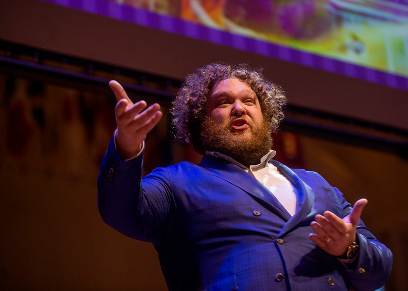 Chautauqua Opera Company bass-baritone Evan Ross performs on the Amphitheater stage during a celebration of the conclusion of the Promise Campaign June 23, 2017. DAVE MUNCH/PHOTO EDITOR