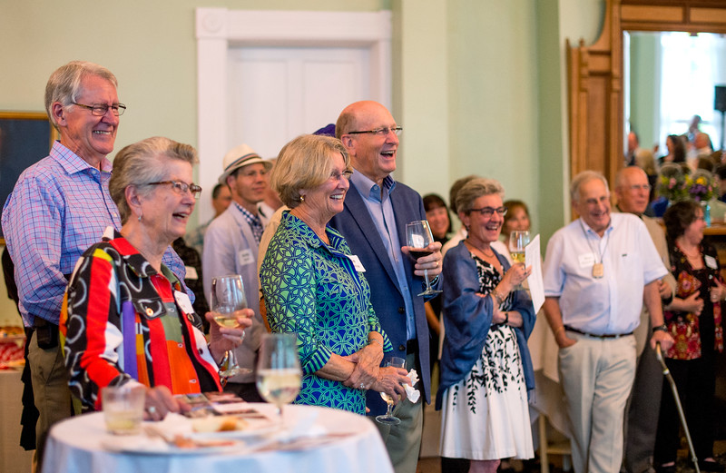 Ron and Rosie Kilpatrick, center, react as former president Tom Becker speaks during a celebration of the conclusion of the Promise Campaign June 23, 2017 at the Athenaeum Hotel. DAVE MUNCH/PHOTO EDITOR