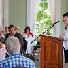 Chautauqua Fund director Tina Downey speaks to volunteers during the Chautauqua Fund Kick-off Celebration in the parlor of the Athenaeum Hotel June 24. DAVE MUNCH/PHOTO EDITOR