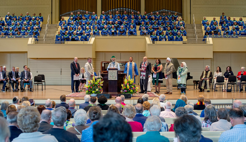 Faith community leaders offer prayers for President Michael E. Hill as he is officially installed as Chautauqua Institution's 18th president before Sunday's Morning Worship service June 25, 2017 in the Amphitheater. DAVE MUNCH/PHOTO EDITOR