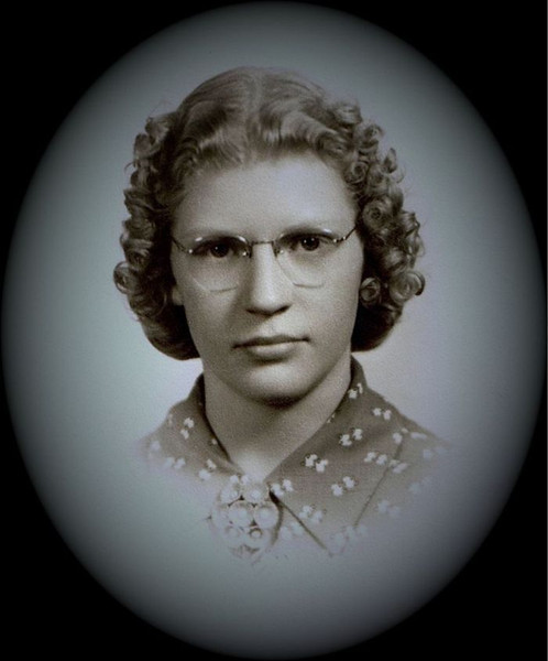 Betty Jean Shaw - 1941 - Age 13 - Seattle, WA<br /> <br /> Note from Betty Jean:<br /> <br /> I was living with Harriet and John Schmidt in Seattle at the time and she and I went to the optometrist.  When we got our glasses we went to the photography shop to have our pictures taken as you can see.  This was probably when I was in the 8th grade because I don't think that I wore glasses in high school.  I must have been able to see the board okay--unlike when I was teaching at Selah because I got glasses again for that reason.