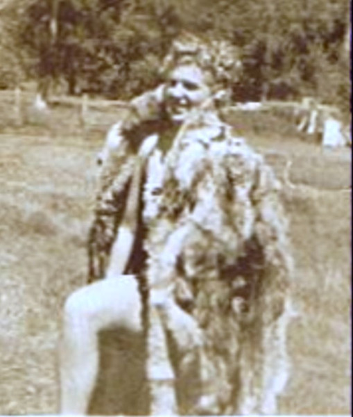 """Betty Jean Shaw - 1945 - Age 17 - Wallowa, OR<br /> <br /> Note from Betty Jean:  """"I think that picture of me with the animal pelt was taken in Wallowa, Oregon when mother and I went to visit her sister Aunt Georgina and Uncle Matt.  Ugh--I hope it was soft inside."""""""