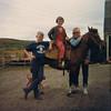 1967 (May) - Mark Yaden (left, age 10), Pauli Yaden (on Bonnie the Horse, age 8), & Danny Yaden (in cool glasses, age 13) - Selah Farmhouse - Selah, WA