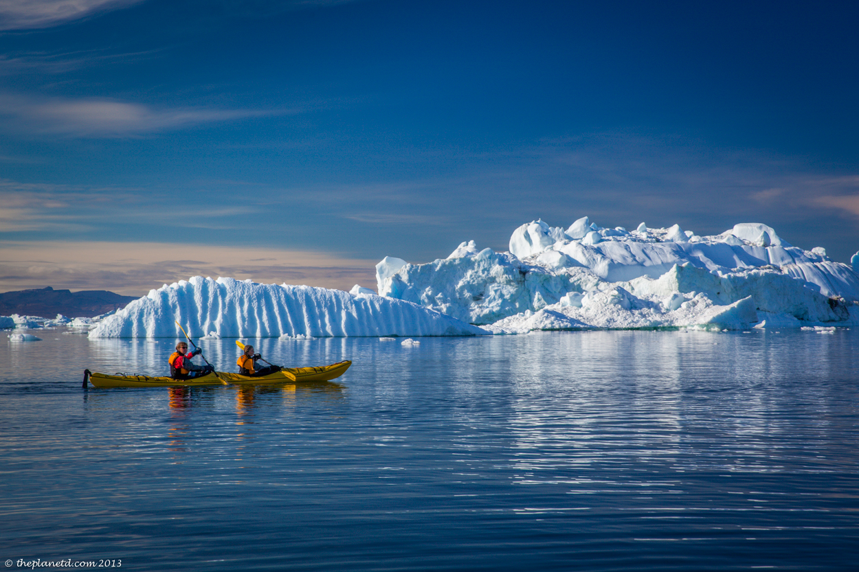 kayaking in Greenland in a double kayak