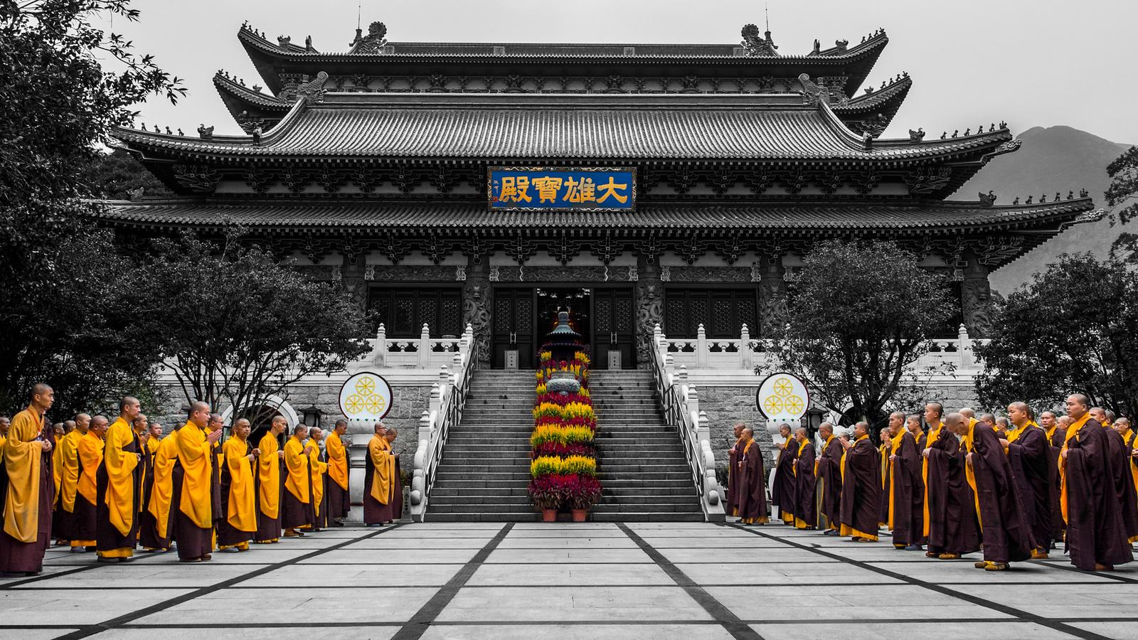 Monks gather for worship on Lantau Island, Hong Kong