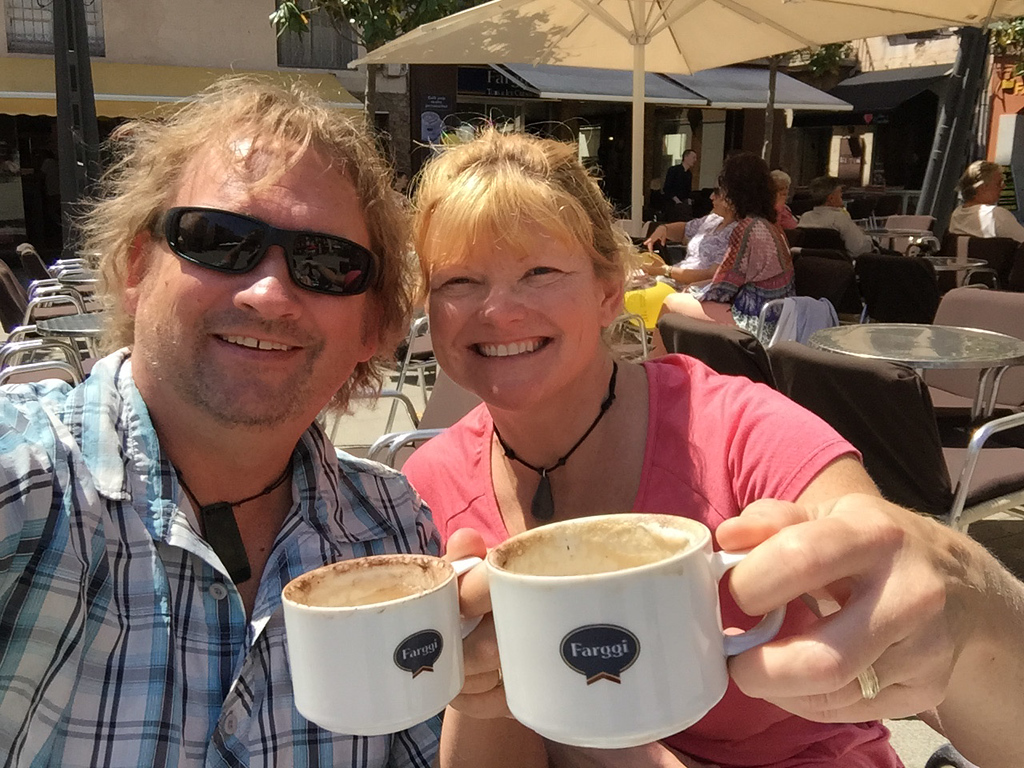 Dave and Deb sipping lattes