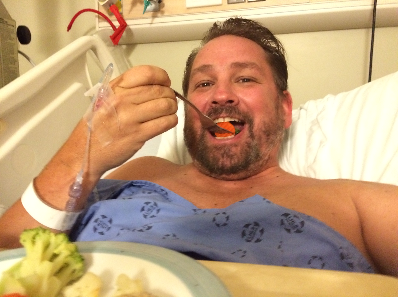 Dave eating in hospital