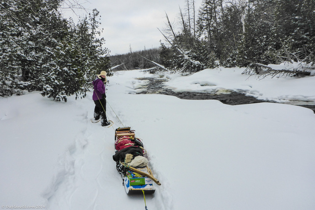 Winter trekking with sled