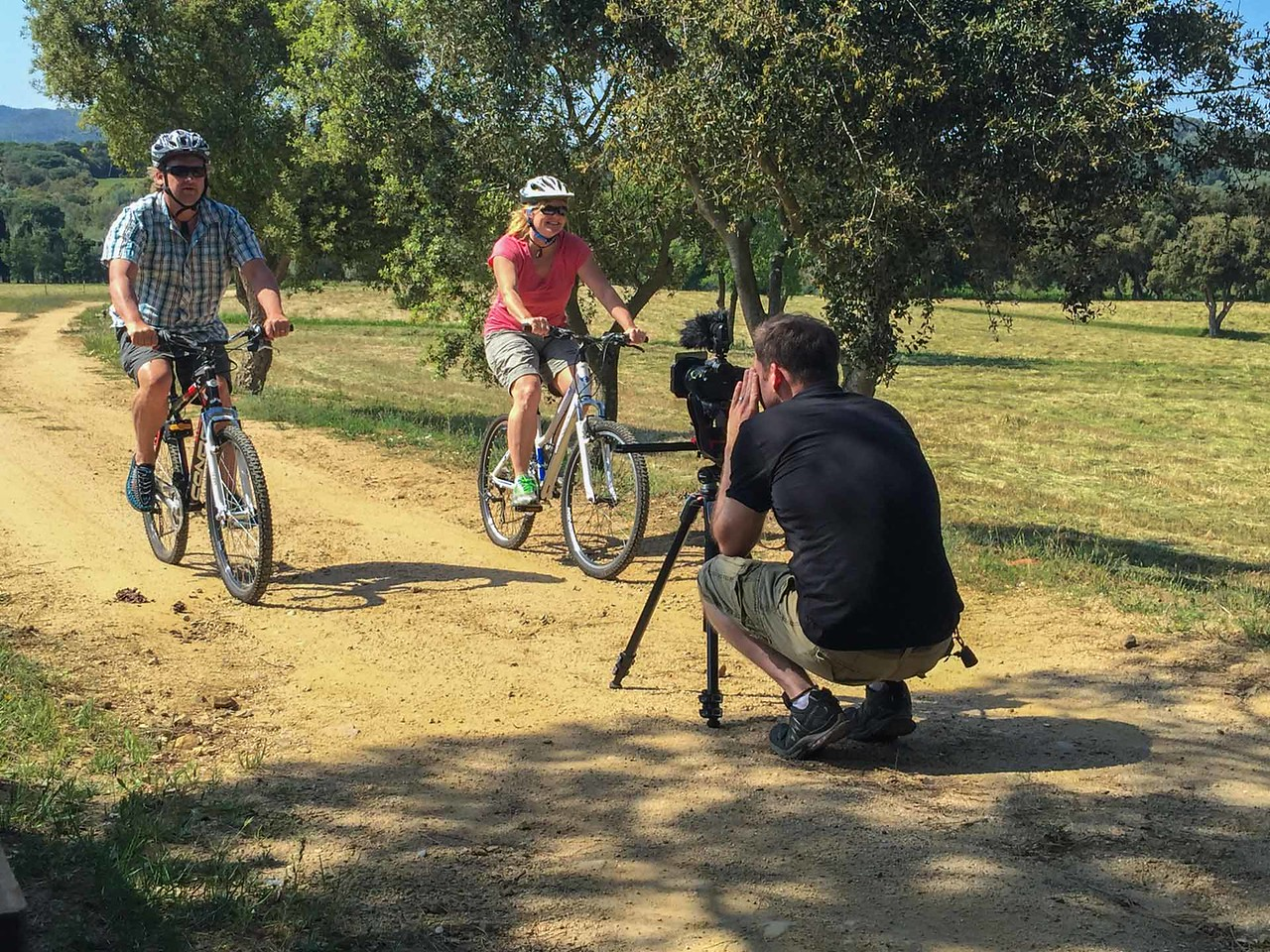 Riding bikes on the extensive trail network in Costa Brava.