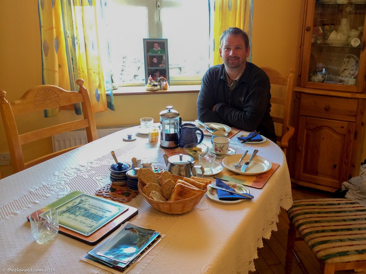 Enjoying a wonderful breakfast at Doonegore FarmHouse in Doolin, Ireland