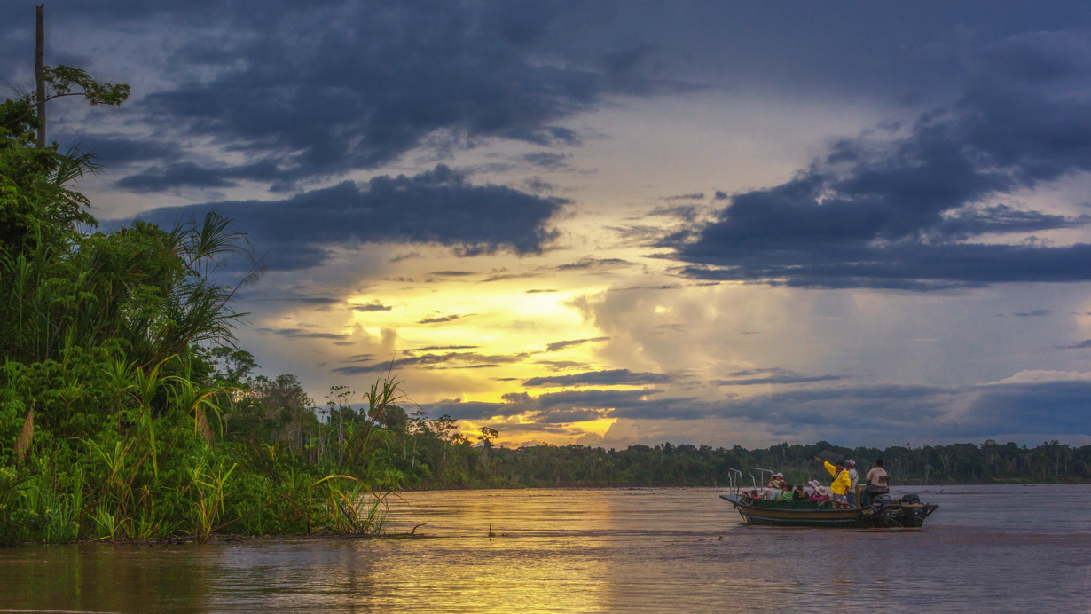Best wildlife viewing on the Amazon is at sunset.