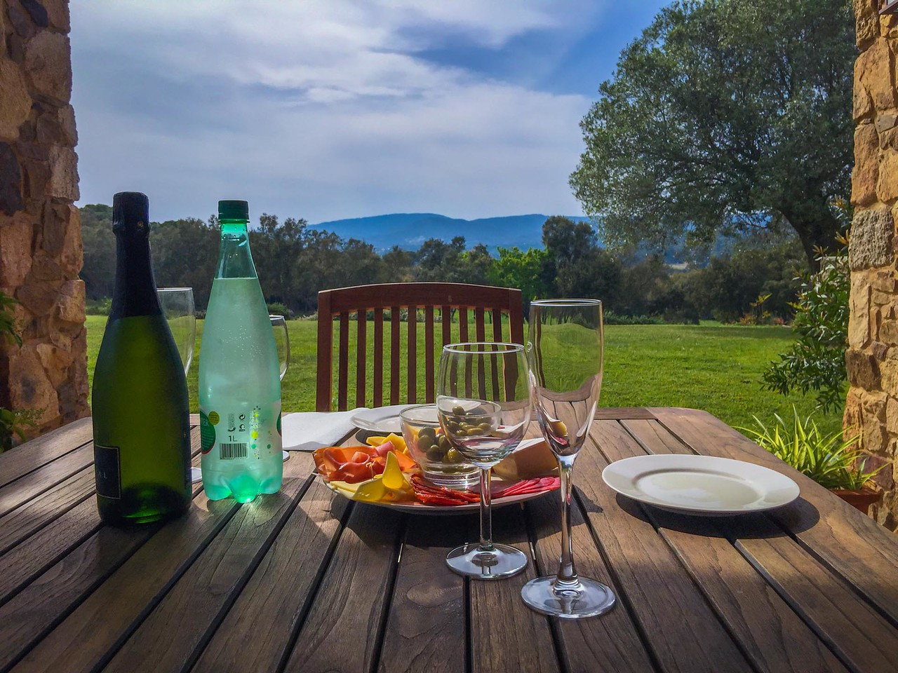 Enjoying the view and the food from our Charming Villa in Spain.