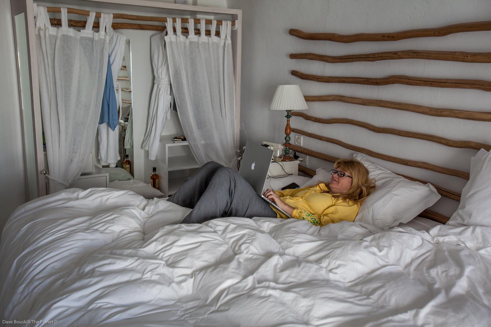 Deb on computer
