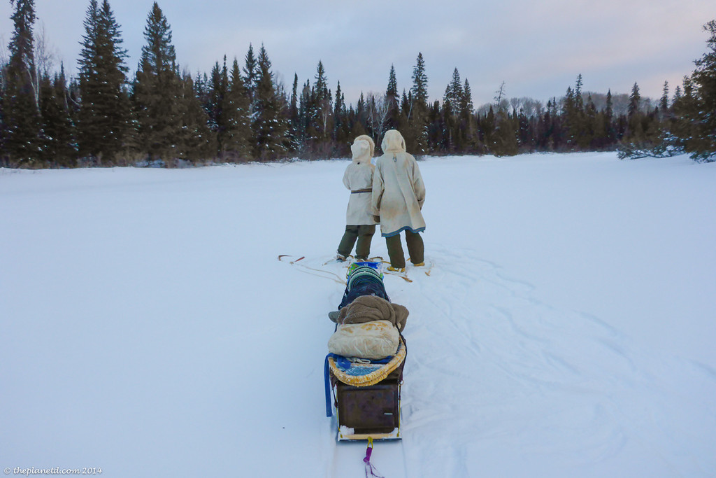traditional winter trekking in anoraks