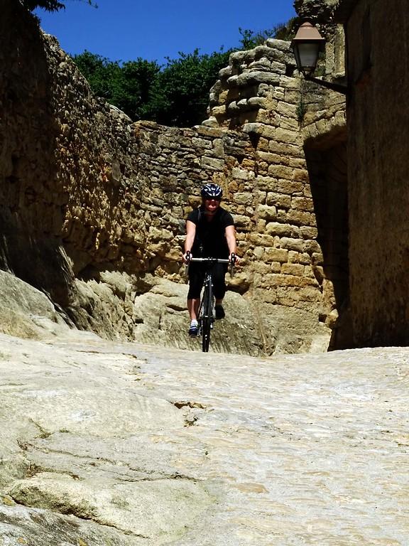 cycling through historic town