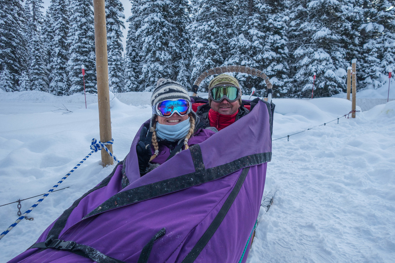 Cozy and ready to go with KingMik Dogsled Tours in Banff National Park
