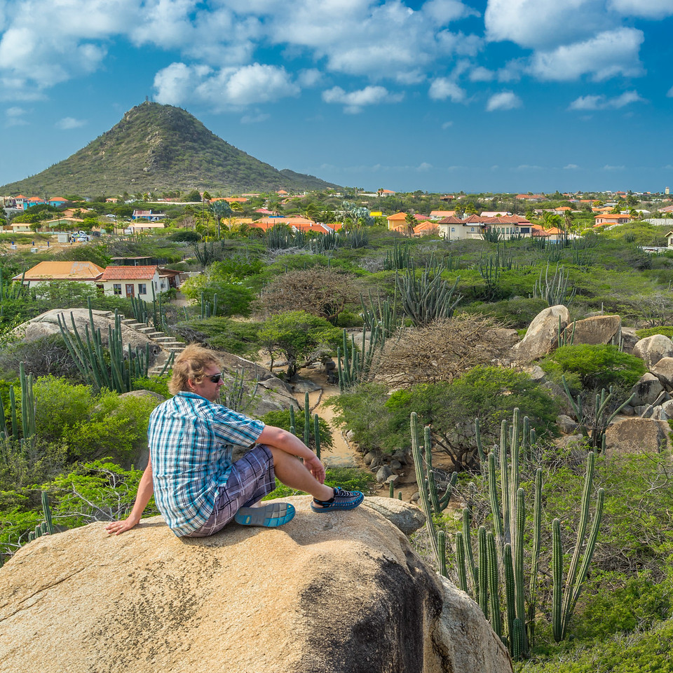 Taking in the view from the rock formations in Aruba