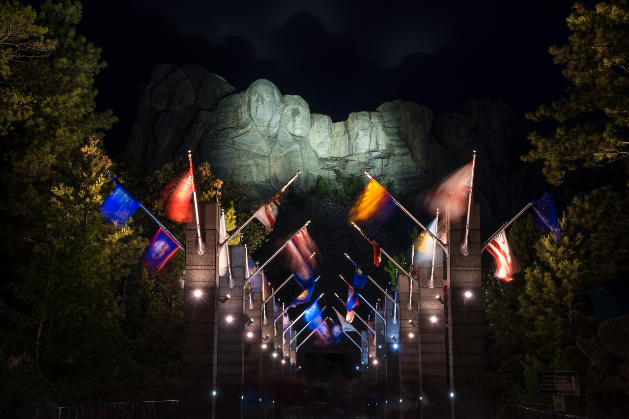 Night ceremony at Mount Rushmore
