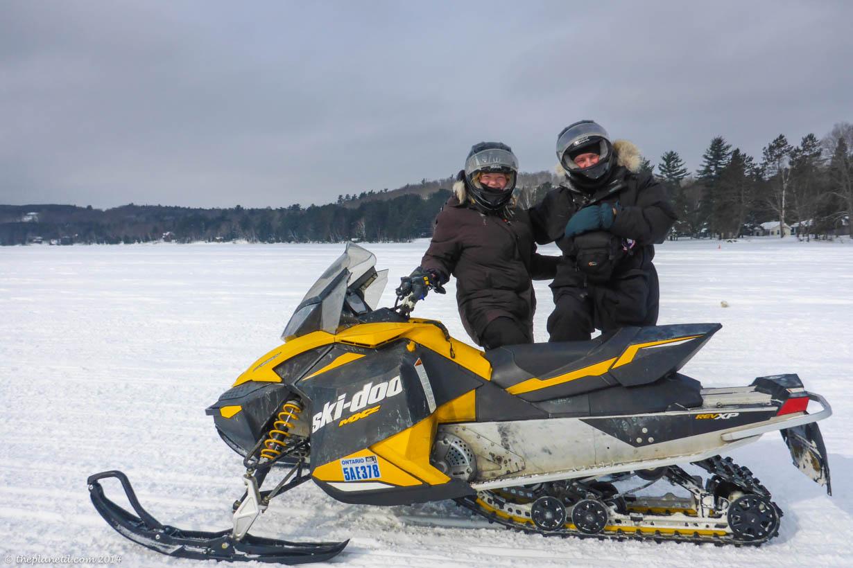 Snowmobiling Lake in Huntsville