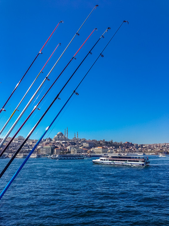 Fishing poles over the Bosphorus