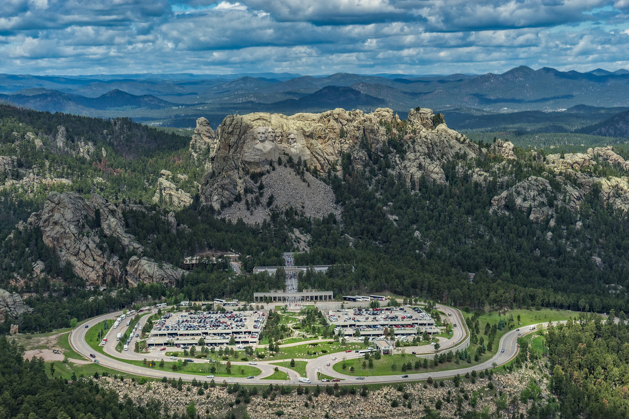 Mount Rushmore from a helicopter.