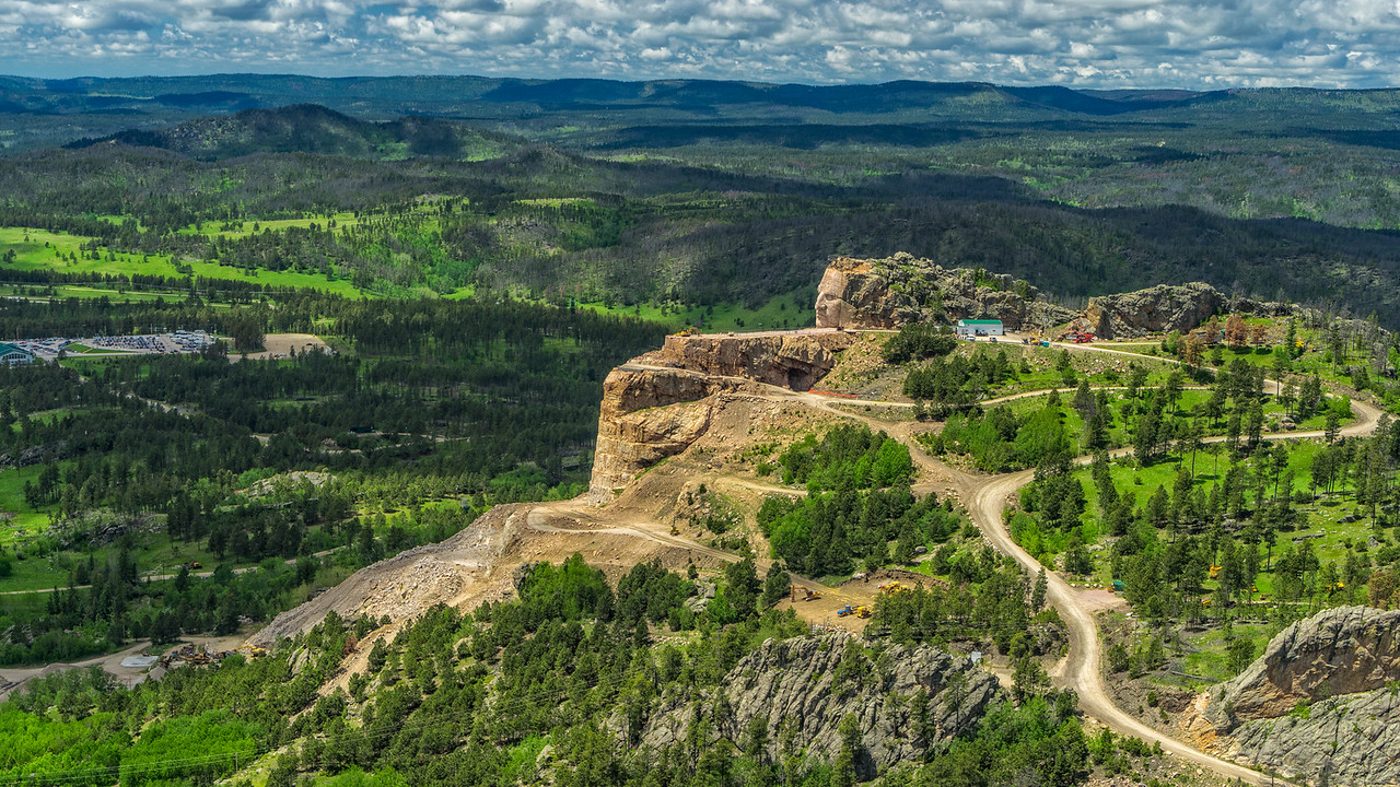 the Crazy Horse Memorial from the air