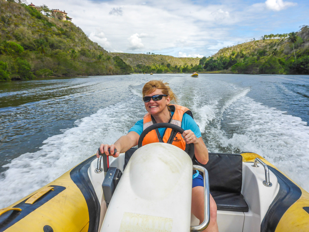 Deb takes on the Aquarider in La Romana