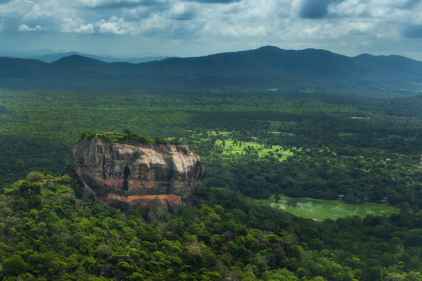 An aerial view of Sigiriya in Sri Lanka