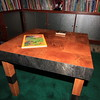 White Oak table with black metal accent