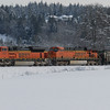 BNSF 9357 on the lead is a General Motors SD70ACe...<br /> <br /> BNSF 6033 is a General Electric Dash 9-44CW....<br /> <br /> Coal train headed into Canada....