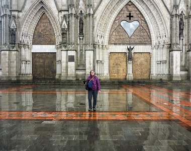 Beth on plaza, Basilica del Voto