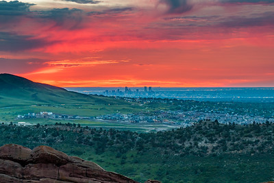 Denver sunrise from Red Rock Amphitheatre