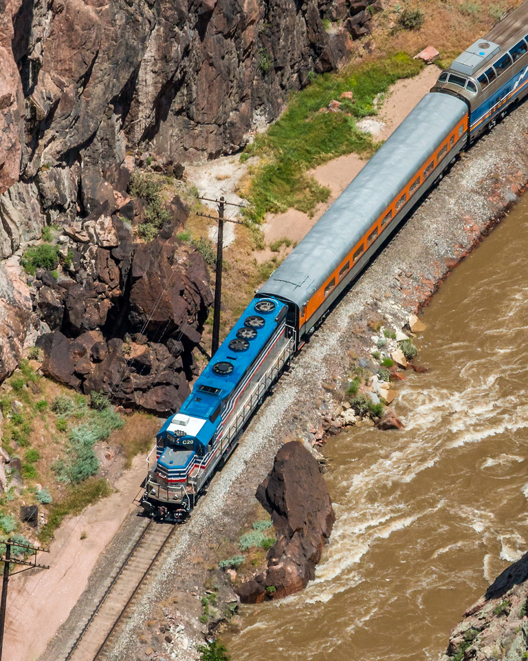 Royal Gorge Route Railroad as seen looking down from the Royal Gorge Bridge.